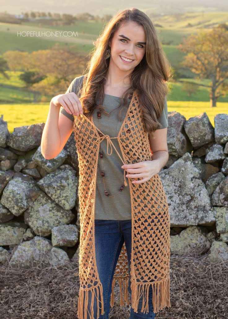 Hopeful Honey: Whispering Birch Bohemian Vest - Free Crochet Pattern.
