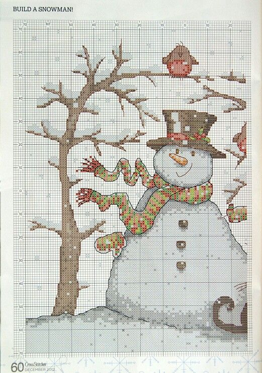cross stitch -Snowman with trees part 1