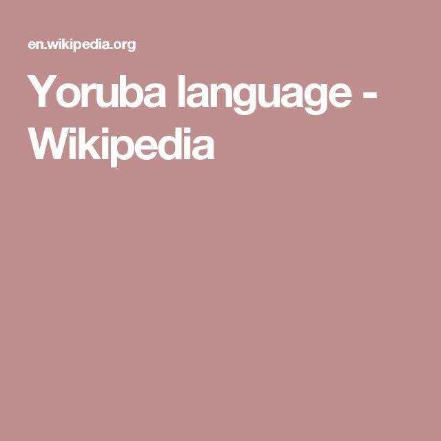Yoruba language - Wikipedia