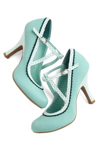 Smart and Snazzy Heel in Seabreeze - High, Woven, Blue, Solid, Polka Dots, Party, Daytime Party, Variation, Better