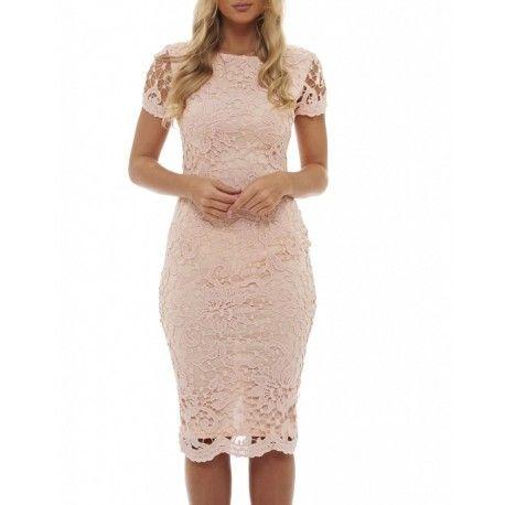 Różowa koronkowa sukienka ołówkowa midi z krótkim rękawkiem