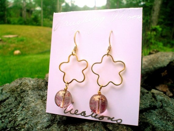EarringEmily Earring in vermeil  and glass by LaughingMoonCreation, $20.00