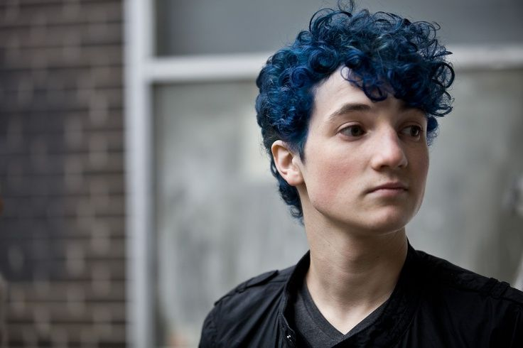 Male Teen Light Skin Blue Hair Brown Eyes Curly Hair  Male Teen Light Othercolored