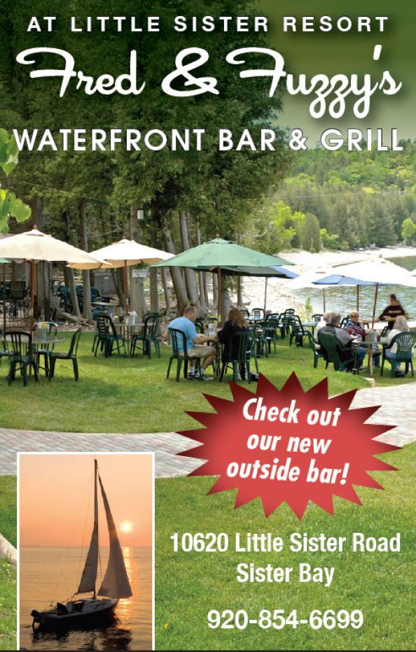 Door County Dining at Fred and Fuzzy's Restaurant in Sister Bay Door County * Waterfront Restaurant in Sister Bay - As close to the water as you can get