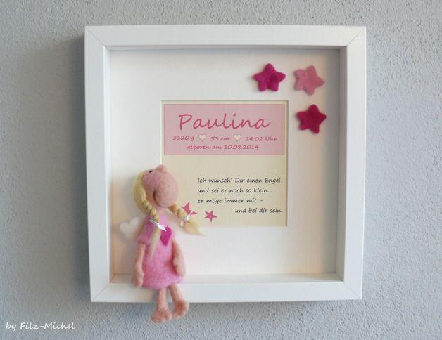 *+...Ein zuckersüßes, wunderschönes & zeitloses Geschenk für kleine Mädchen zur Geburt, Taufe oder Geburtstag...+*  Hier sitzt festgeklebt ein süßes, aus hochwertiger Merinowolle gefilztes...