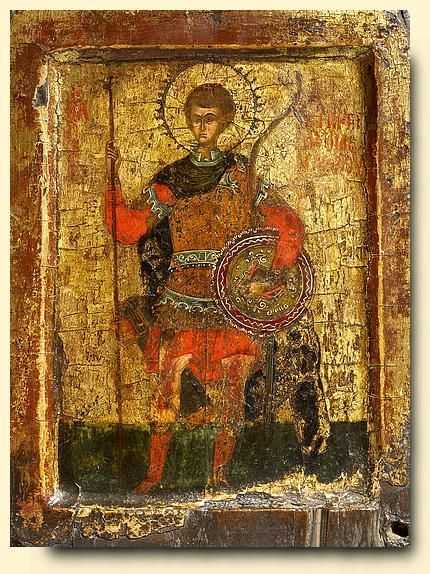 Saint Demetrios of Salonika.Byzantine, circa 1400 (Palaiologue period) Panel: 27 x 20 cm