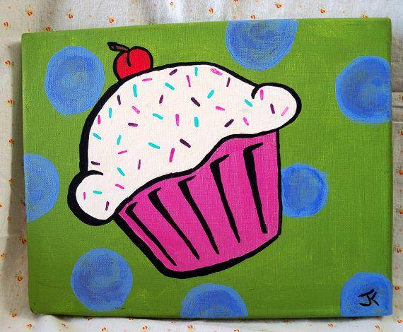 SALE Pop Art Cupcake Painting van 3ApplesOnline op Etsy