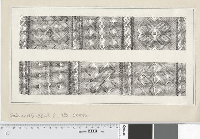 Fotoportalen UNIMUS Teknisk rekonstruksjon av brikkevevbånd 34D. Osebergfunn, fra mappe 'Tekstilfragment - usikkert nr og Diverse': 'vevet bånd'. Tusjtegning av ukjent tegner. Mål: B: 31 cm, H: 17 cm.