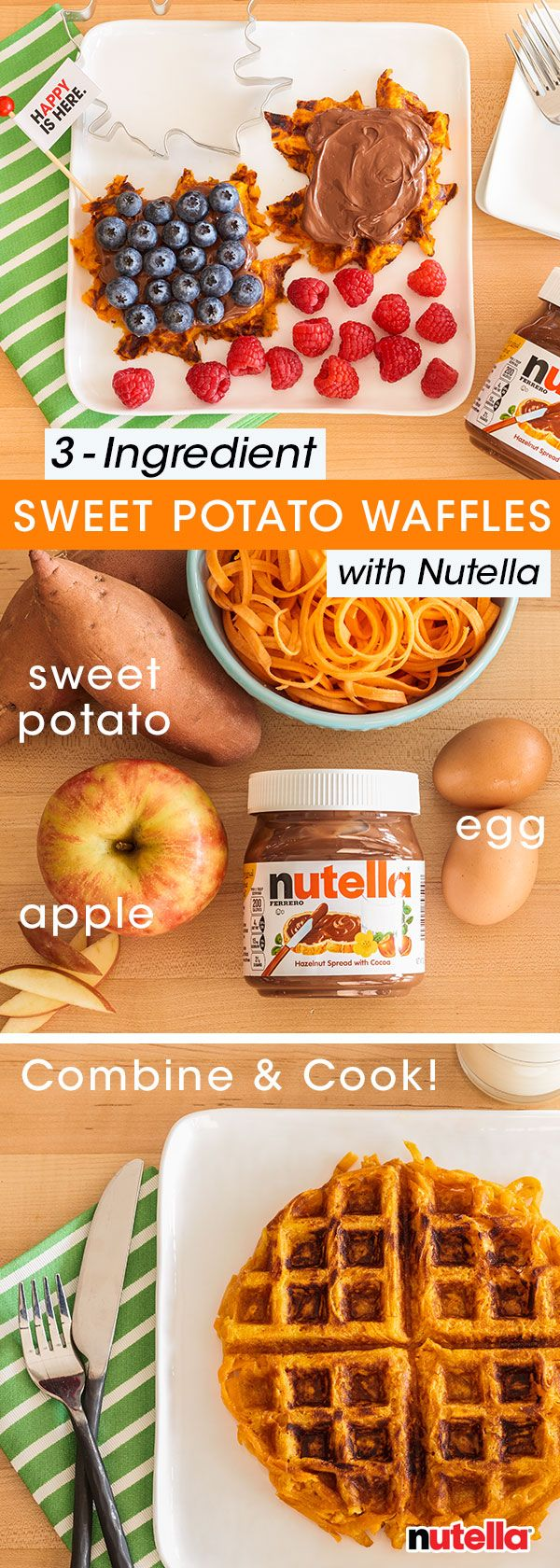 Hand out happy this morning by whipping up these simple sweet potato waffles. Begin by spiralizing one sweet potato and cooking on a stovetop for eight minutes, or until softened. Next, mix together one apple that has been shredded with one egg. Combine all ingredients and place in a waffle iron. Top this unbe-leaf-ably festive breakfast with a spread of Nutella® and serve!