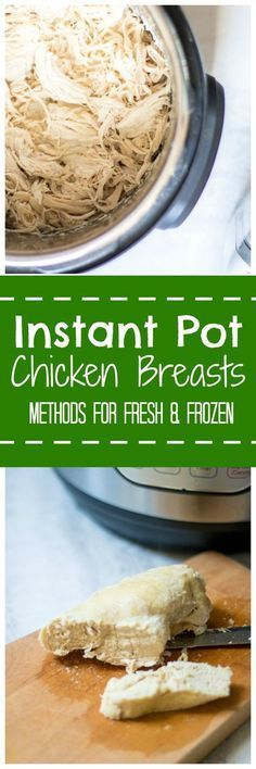 Instant Pot Chicken Breasts: The BEST way to make chicken breasts in the pressure cooker--perfectly cooked, juicy chicken EVERY SINGLE TIME! Directions on how to cook chicken in Instant Pot from fresh and frozen with a secret ingredient that will knock your socks off! #EatCleanSalads #IC #AD