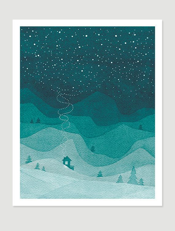 Watercolor painting print Mountains emerald green teal house night landscape stars sky painting giclee print
