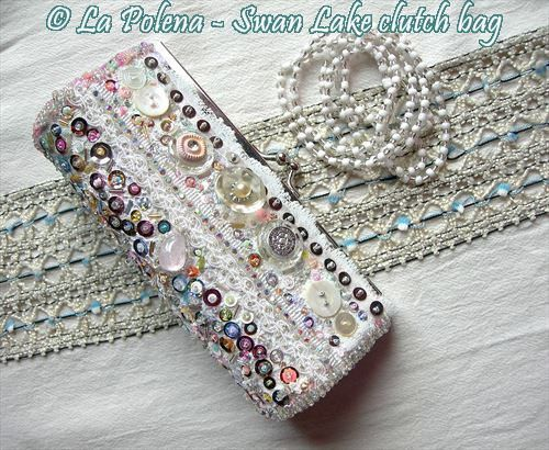 https://flic.kr/p/QhXsQt | Swan Lake Clutch bag | Beaded sequined lace, vintage buttons, rhienstones, hand dyed textile, soft white colours, assorted pastel colours.