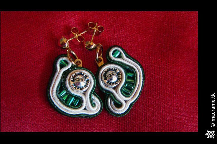 Green sun soutache earrings  Orecchini sole verdi in soutache