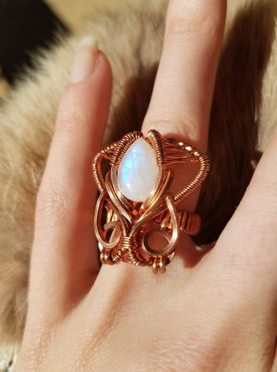 Wire Wrap Moon Stone Ring Rainbow Moonstone Silver Ring Flashy Gem Moonstone Ring Heady Style Moonstone Wire Wrapped Ring