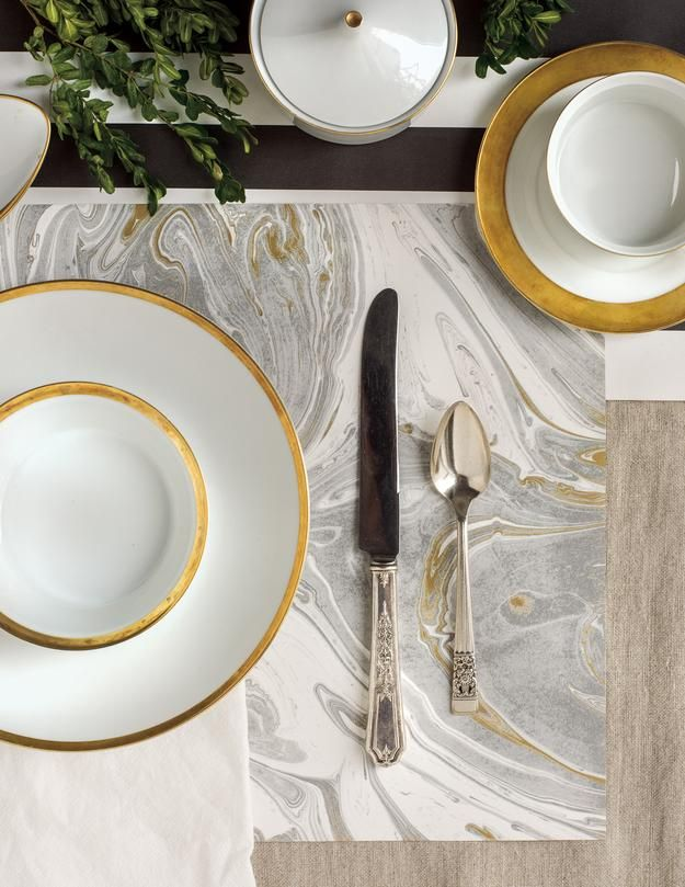 Gray Gold Marbled Paper Placemats