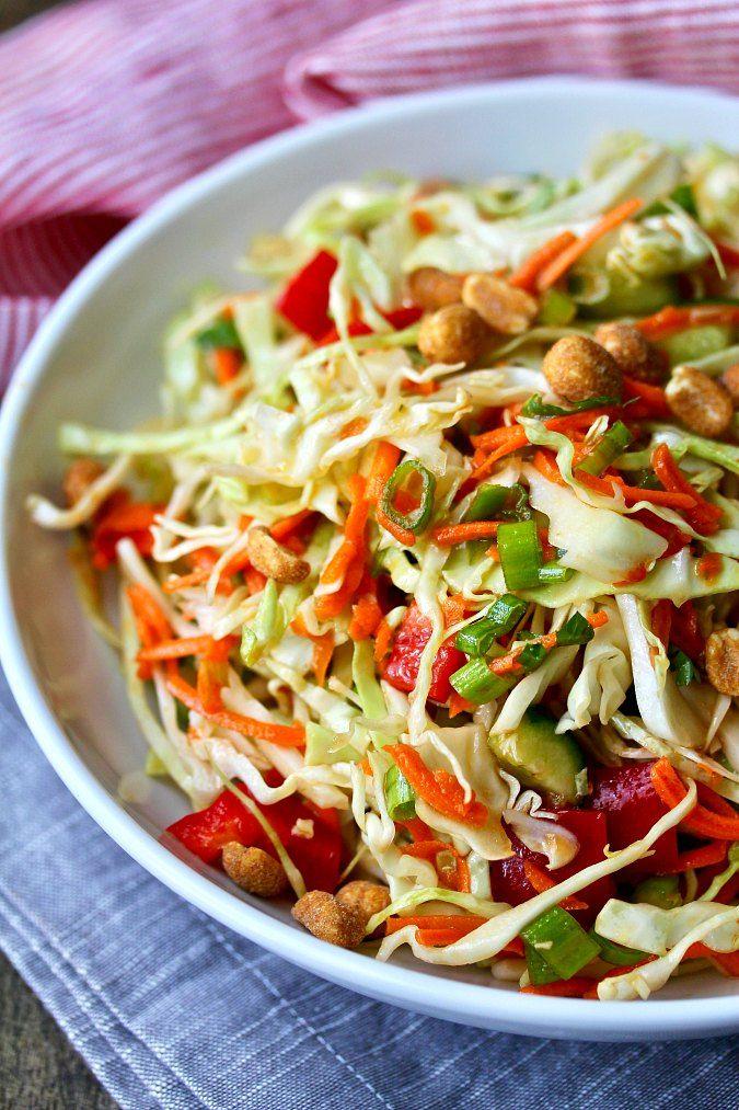 Thai Cabbage Salad With Peanuts Salad Coleslaw Cabbage Salad Recipes Vegetable Salad Recipes Cabbage Salad