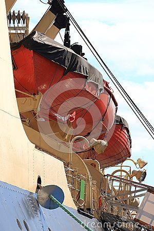 Rescue equipment of the port side of the icebreaker Krasin. Saint Petersburg, Russia