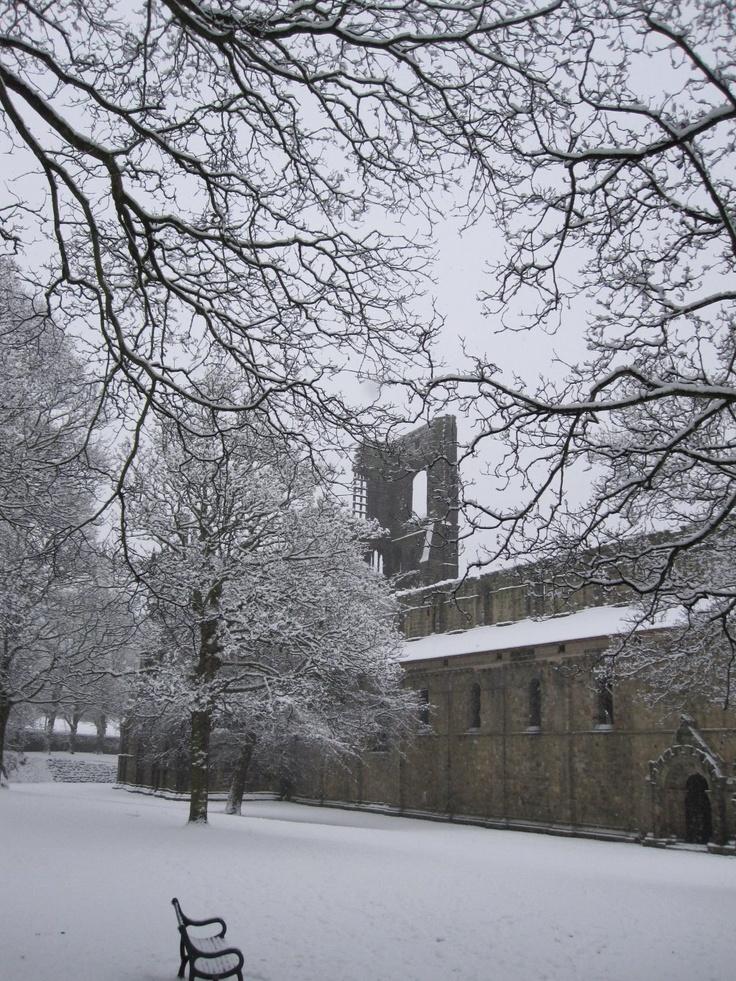 Snowy Morning at Kirkstall Abbey - Leeds - England