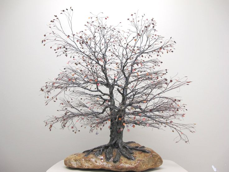 Copper wire trees - natural rock - recycled materials - oxidized copper - Bonsai trees - Penjing trees - Wabi sabi style - art sculptures - maple tree