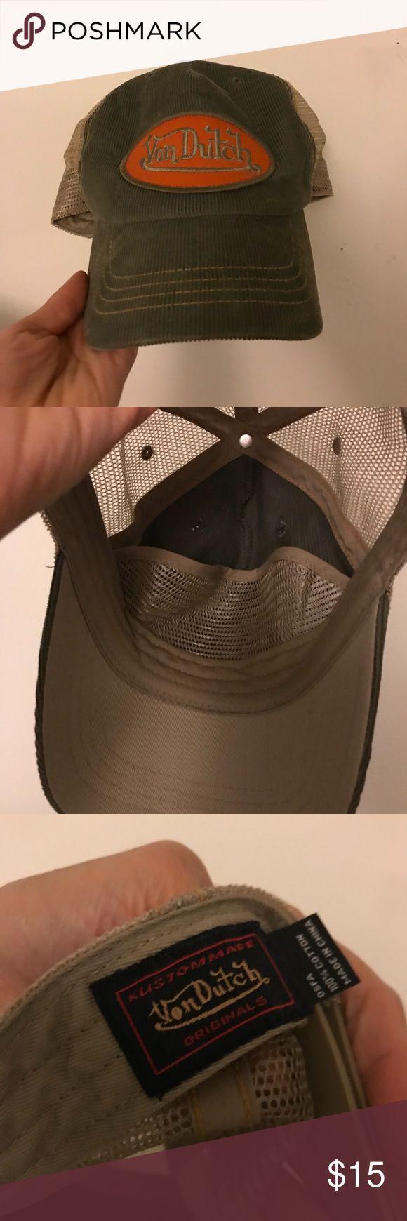 Von Dutch hat Von Dutch hat.  Olive green Corduroy with orange patch.  Tan netting. Von Dutch Accessories Hats