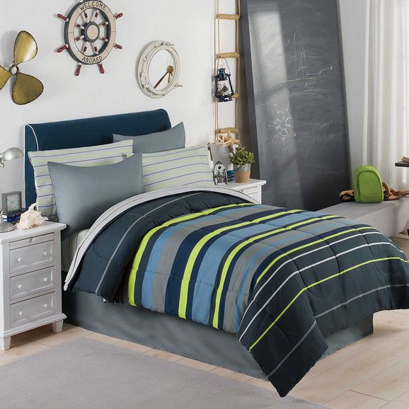 Gray, Blue & Green Boys Stripe Full Double Comforter Set (8 Piece Bed In A Bag) in Home & Garden,Kids & Teens at Home,Bedding | eBay