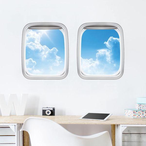 3d Wandtattoo Doppelfenster Flugzeug Above Sea Level 3d Wandtattoo Wandtattoo Glattputz