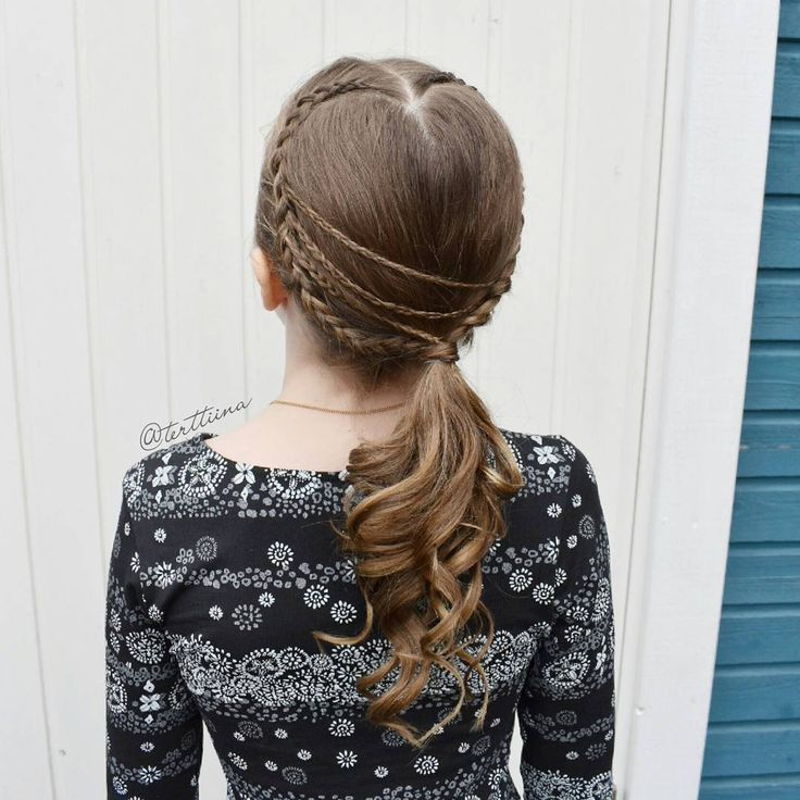 "(@terttiina) Instagramissa: ""Heart shaped lace dutch braids with accent micro braids into a ponytail with some curls!"""