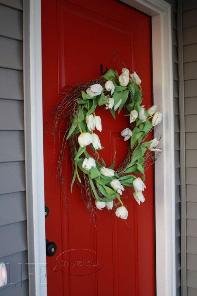 Beautiful front door - Benjamin Moore Heritage Red - This will be our front door color come Spring!