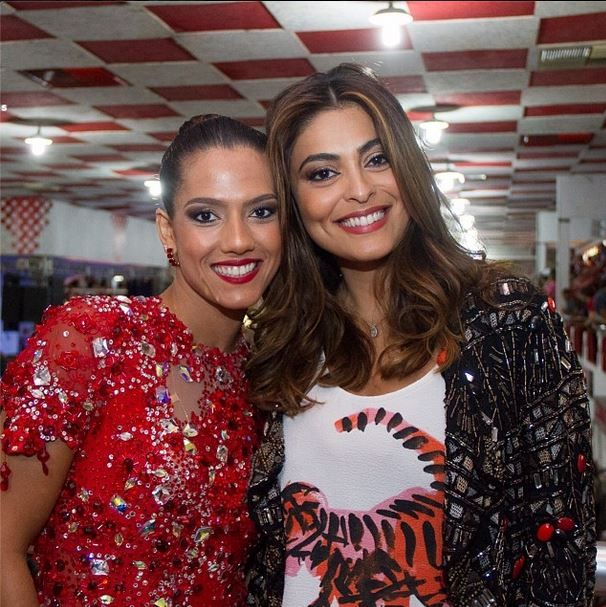 Marcella Alves e Juliana Paes na quadra do Salgueiro,