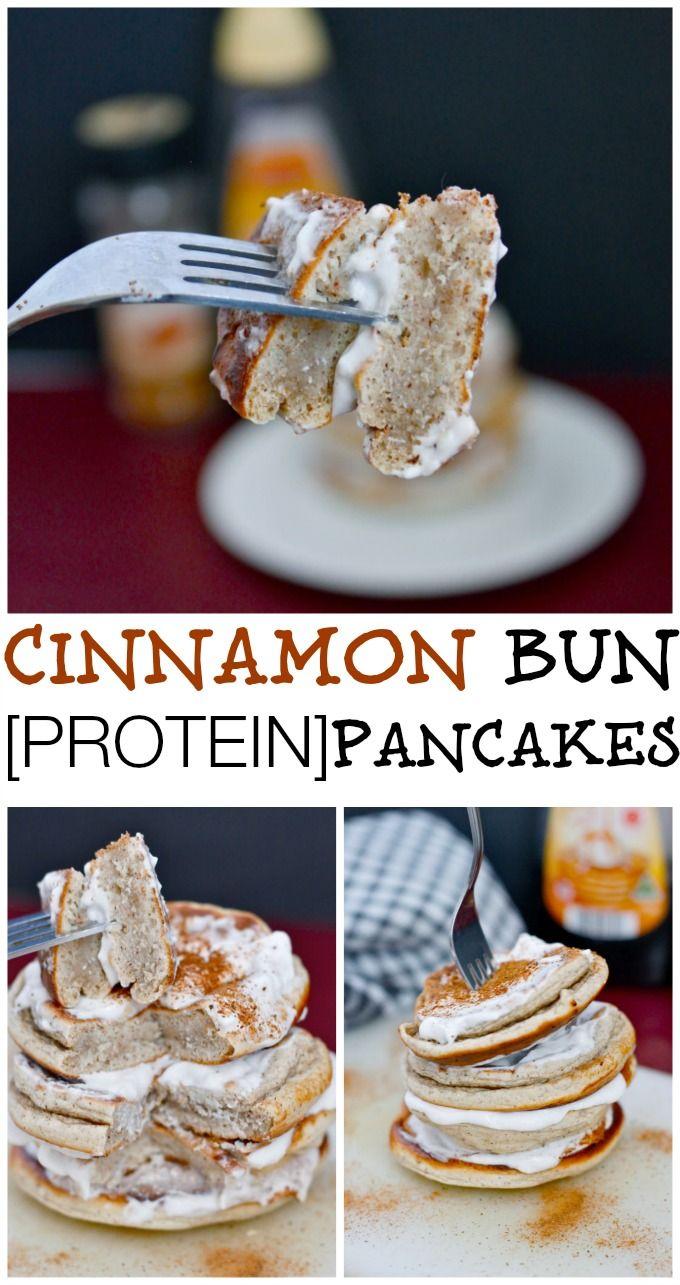 Cinnamon Bun Pancakes- High in protein (without protein powder!), sugar free, gluten free and fluffy- tastes BETTER than a Cinnabon Cinnamon Roll! {gluten-free, vegan, low sugar}