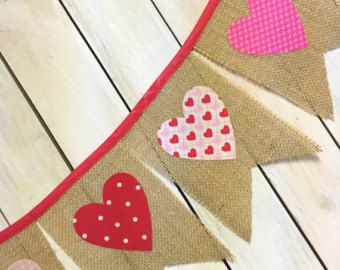 Valentines Day Pink Burlap Pennant Banner with White Hearts for Mantles, Classroom Party Decoration, Photo Prop, or Wedding Reception - Edit Listing - Etsy