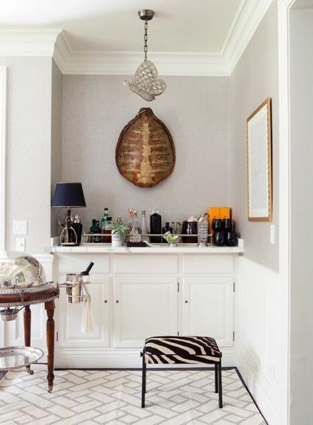 BAR NOOK: I Love The Contrast Of The Pale Grey And The White But Mostly I  Love The Use Of The Small Space. I Could See A Little Built In Bar Storage  ...