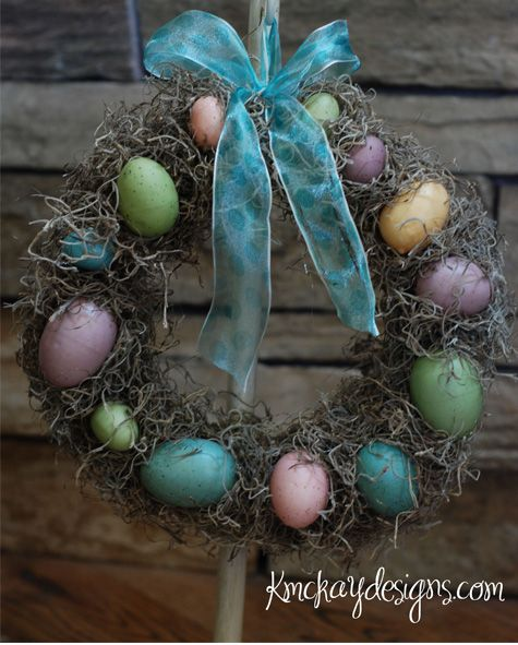 Spring wreath made from items at dollar store