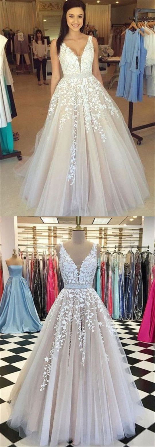 V-neck Long A-line Tulle Appliques Prom Dresses, Cheap Prom Dresses, Evening Dresses,PD190324