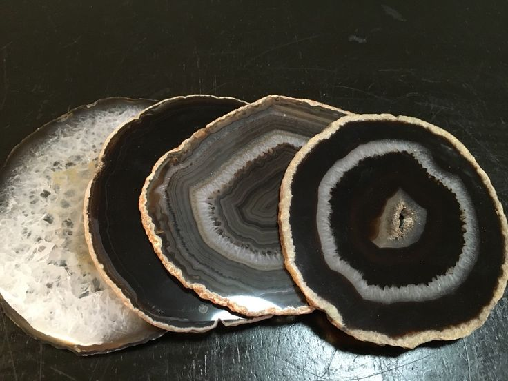 Agate Coaster - Black Agate Coasters - Brazilian agate - Natural Edge Agate Coasters - Crystal Geode Slice - Wedding Birthday Hostest Gift by NewMoonBeginnings on Etsy https://www.etsy.com/listing/261262050/agate-coaster-black-agate-coasters