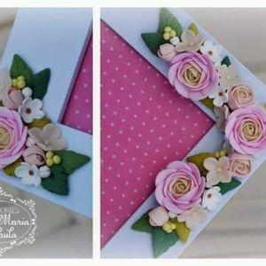Rama foto decorata cu flori din lut polimeric - handmade with love by Ana Maria and Paula
