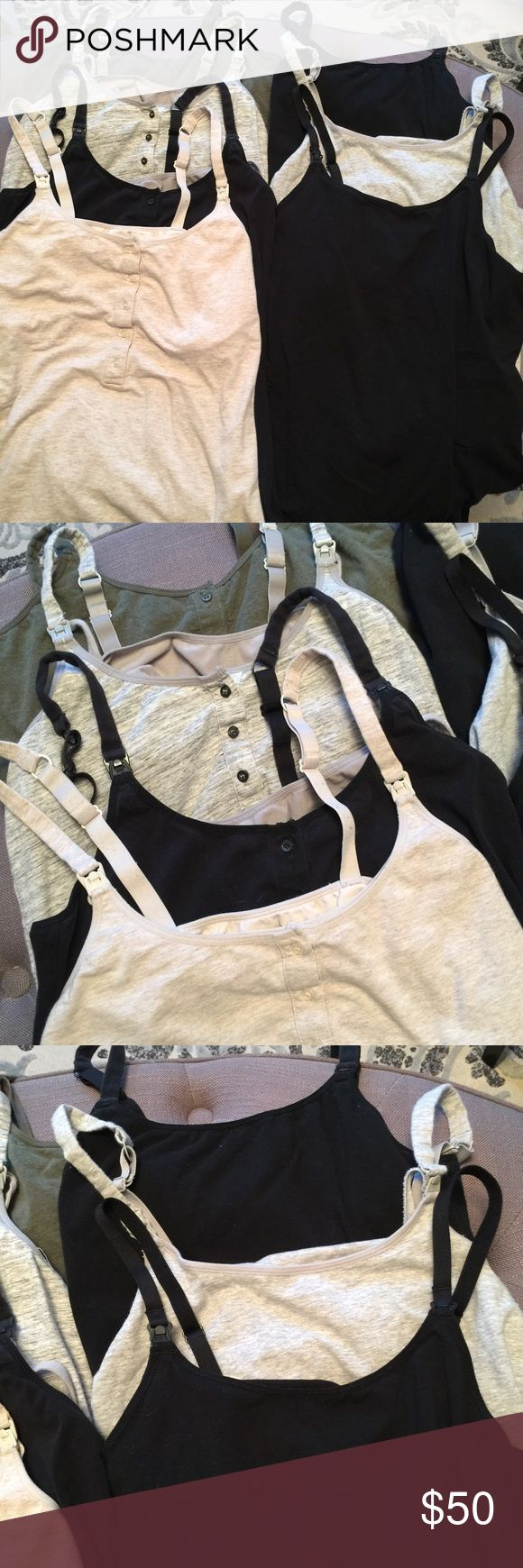 🤰🏻7 PC BUNDLE MATERNITY NURSING TANKS By Target brand Gilligan @ O'Malley. All size L. In mint condition, no stains, rips or imperfections. Light signs of wear. The ones without buttons have only been worn 2 times at most. All have been properly washed & dried.  💋 Reasonable offers welcome. NOTE: anything below 30% is NOT reasonable 🙄 〰 ALL measurements are approximate  🚫 Sorry, NO trades ❗️NO MODELING pics 📦 Ships w/in 24 hrs 👌🏼 Gilligan & O'Malley Tops Tank Tops