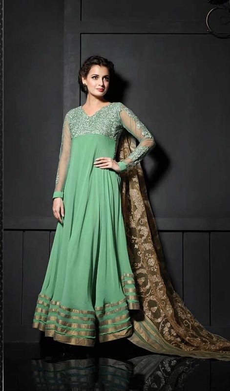 Mint Green Georgette And Net Long Anarkali Suit Flaunted