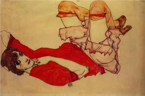 Wally with a Red Blouse, Egon Schiele