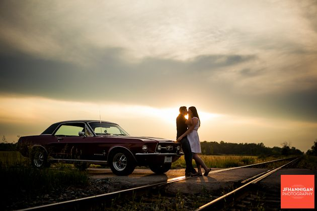 Couple at dusk, 67 Mustang, Engagement Shoot, Niagara Wedding Photography+ selection vintage cars + ma colline + www.ma-colline.com