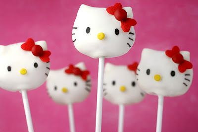 Hello Kitty cake pops.  Going into cuteness overload.    #Cake_pops #party_ideas #Hello-Kitty