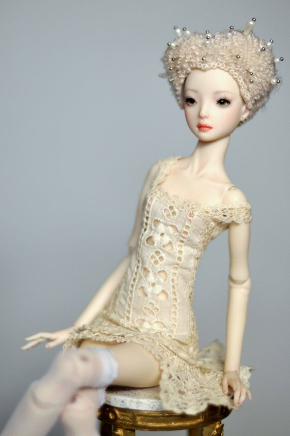 """Crochet dress with antique lace for enchanted doll - """"Peacock"""""""