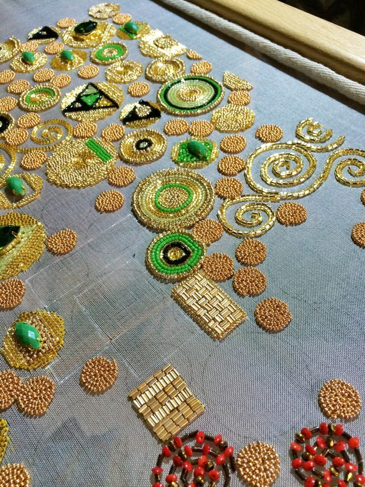 Tambour work. Klimt progress