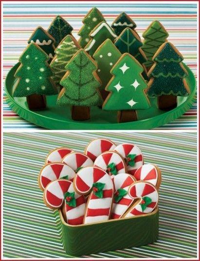 Biscotti natalizi a forma di alberi e di bastoncini