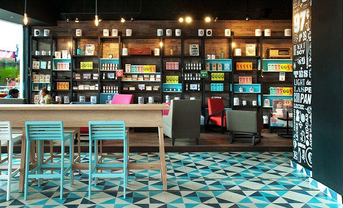 Blue cement tiles café #mosaicdelsur #cementtiles