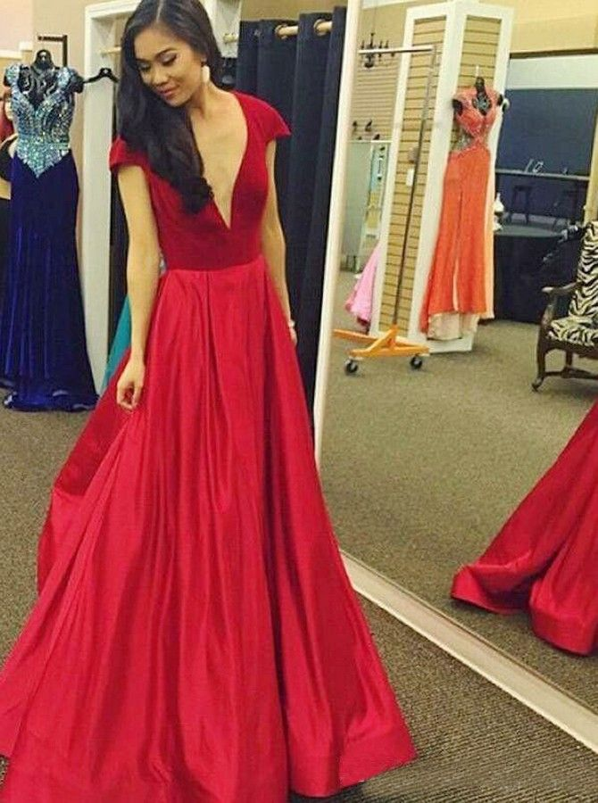 c51508ecda A-Line Deep V-Neck Cap SLeeves Floor-Length Red Satin Prom Dress ...