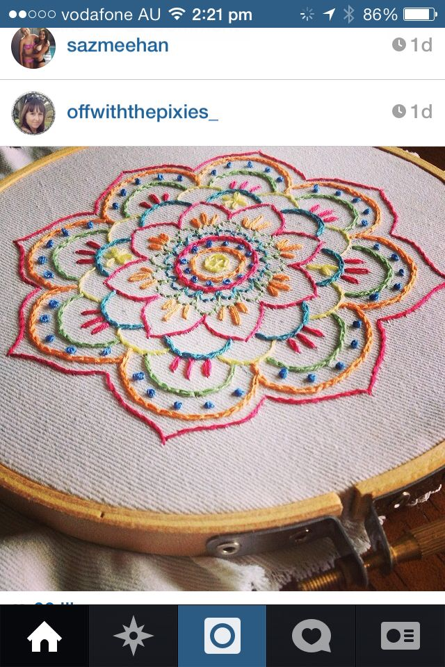 Embroidered Mandala. Off with the Pixies design. Beautiful work!!