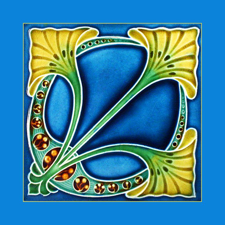 """31 Original Art Nouveau tile by Henry Richards (1907). Courtesy of Robert Smith from his book """"Art Nouveau Tiles with Style"""". Buy as an e-card with a personalised greeting!"""