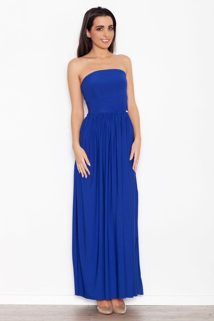 Niebieska sukienka maxi z rozcięciem