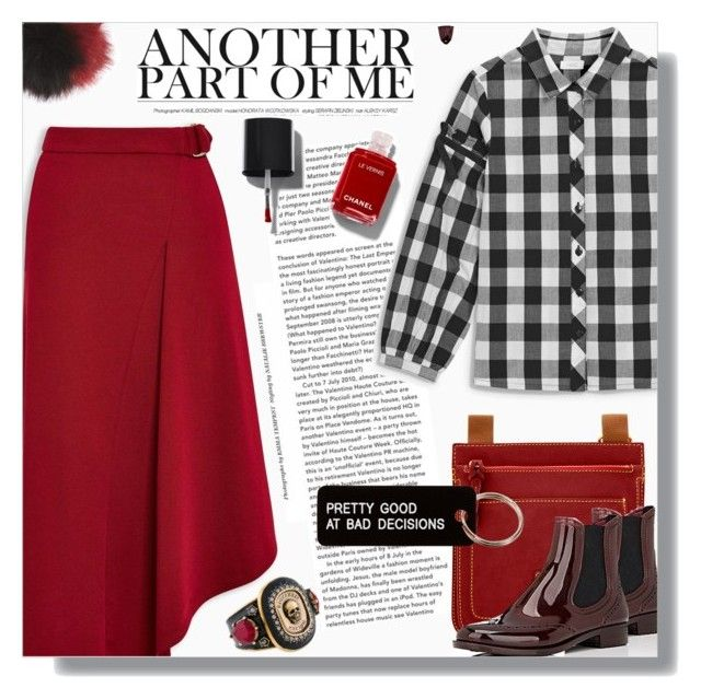 """""""Red & ..."""" by cilita-d ❤ liked on Polyvore featuring Dooney & Bourke, Barneys New York, NYC Underground, Alexander McQueen, Various Projects, red, Boots, rainboots, gingham and asymmetricskirt"""